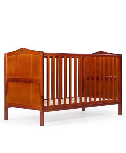 Babyhug 2 in 1 Height Adjustable Merlino Wooden Cot Cum Bed - Walnut