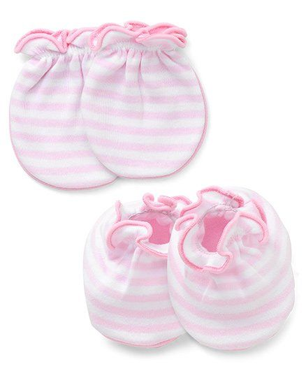 Ben Benny Mittens And Booties Set Stripes Pattern - White Pink
