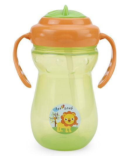 1st Step 2 Handle Cup With Straw Sipper Green Orange - 250 ml