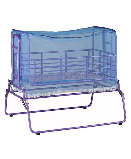 Genuine Industries Baby Pendulum Cradle With Mosquito Net With Metal Mesh Base - Violet