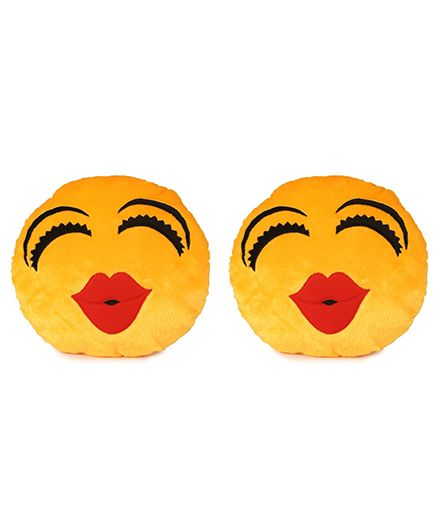 Deals India Kiss Smiley Cusion Set Of 2 - Yellow