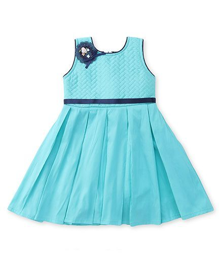 Bluebell Sleeveless Pleated Party Wear Frock - Blue