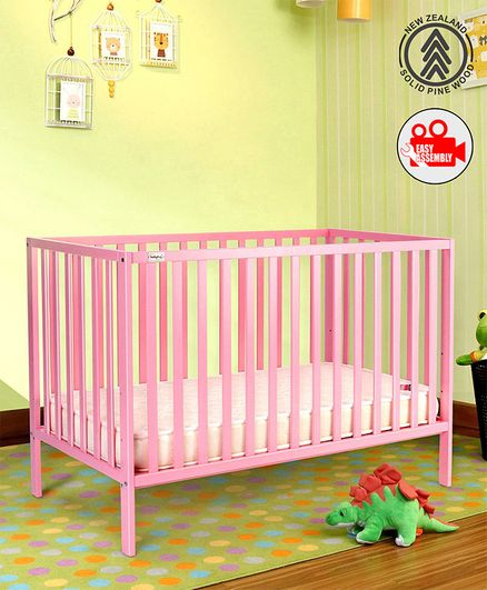 Babyhug 3 Level Height Adjustable Visby Wooden Cot - Pink