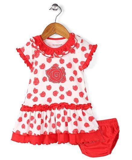 Wonderchild Heart Print Dress With Bloomer - Red