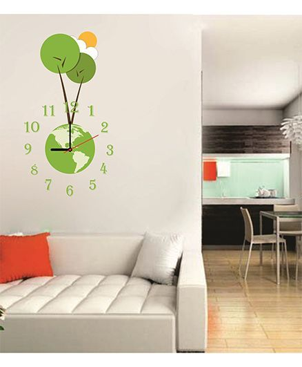 Syga Royal Earth Theme Wall Sticker Clock Design - Green