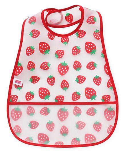 Babyhug Plastic Bib Strawberry Print - White Red