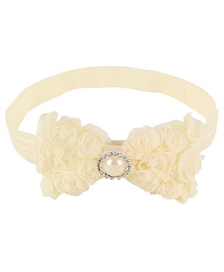 Baby Angel Pearl Center Rosette Bows Headband - Cream