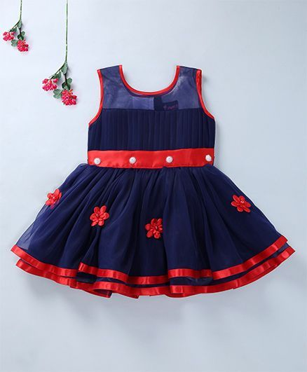 Enfance Beautiful Sleeveless Party Wear Dress - Navy blue & Red