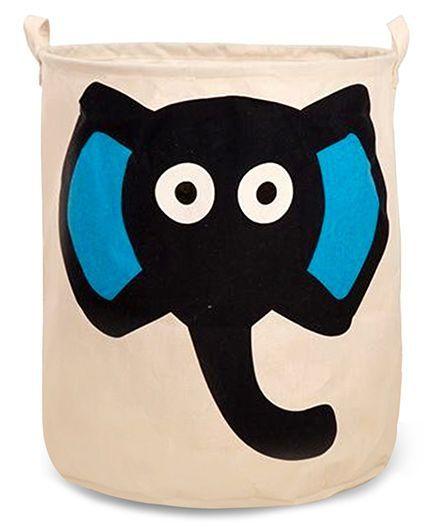 EZ Life Elephant Printed Laundary Basket Organizer - Cream