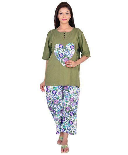 9teenAGAIN Half Sleeves Maternity Nursing Top And Pajama - Green White.  Large 076f02ab5