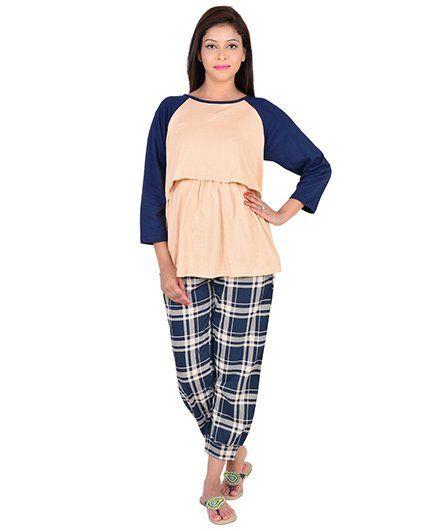 9teenAGAIN Raglan Sleeves Top And Check Pajama - Cream Blue