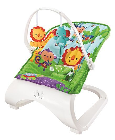 Flyers Bay Fiddle Diddle Bouncer Cum Rocker With Lion Print - Purple Green