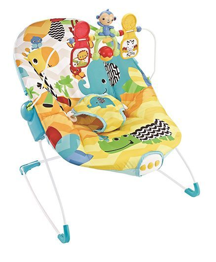 Flyers Bay Fiddle Diddle Baby Bouncer Cum Rocker Elephant Print - Yellow