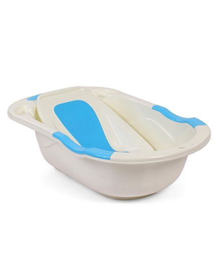 Babyhug Bath Tub With Bath Tray Bunny & Bear Print - Off White Blue