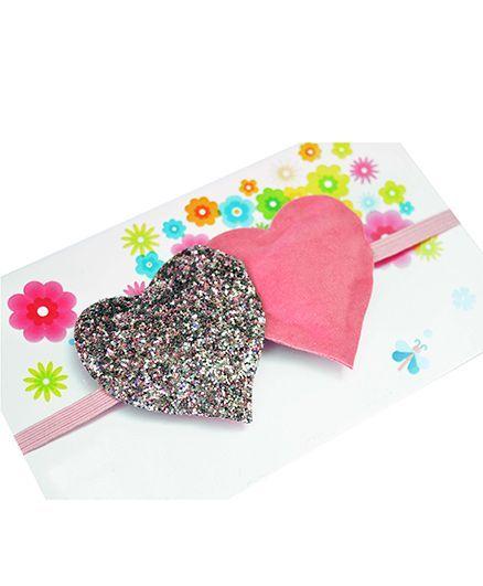 Little Tresses Twin Glittery Hearts Soft Stretchable Headband - Pink