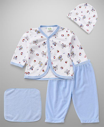 Babyhug Clothing Gift Set Of 4 Pieces Bear Print - Blue White