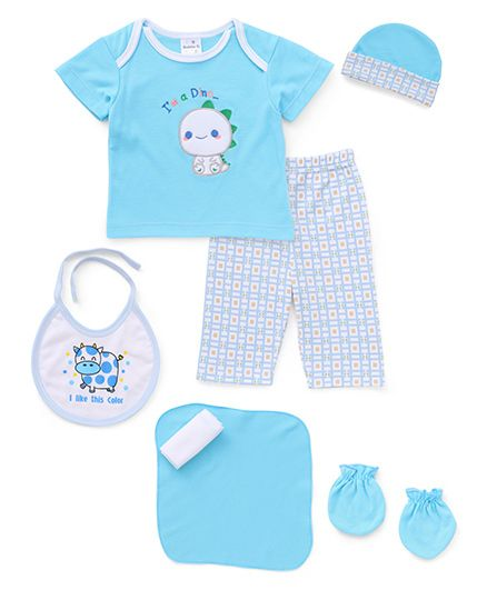 Cloth Gift Set Dino Embroidery 7 Pieces - Blue