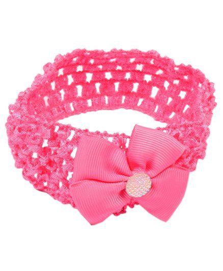Miss Diva Shiny Bow Soft Headband - Magenta