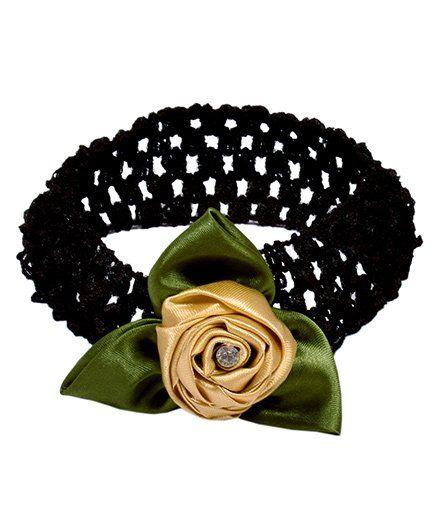 Miss Diva Diamond Studded Leafy Rose Soft Headband - Golden