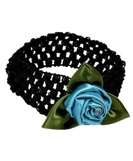 Miss Diva Diamond Studded Leafy Rose Soft Headband - Turquoise