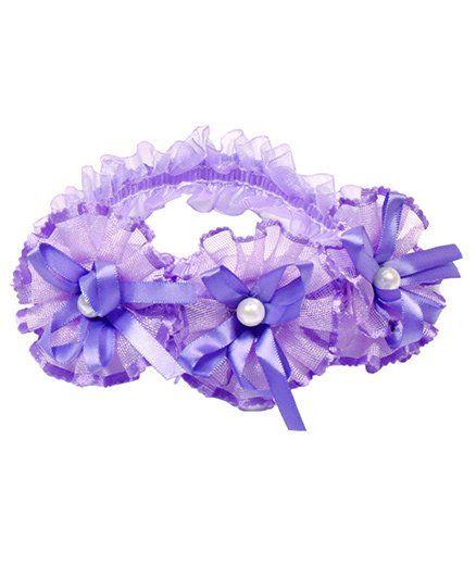 Miss Diva 3 Pearl Studded Flowers Soft Headband - Purple