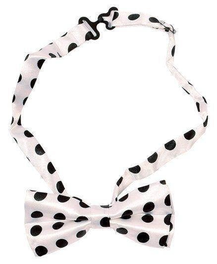 Miss Diva Polka Dot Print Bow Tie - White