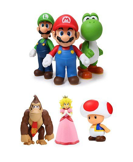 Emob New Super Mario Bros 6 In 1 Super Action Figures Toy Set - Multi Color