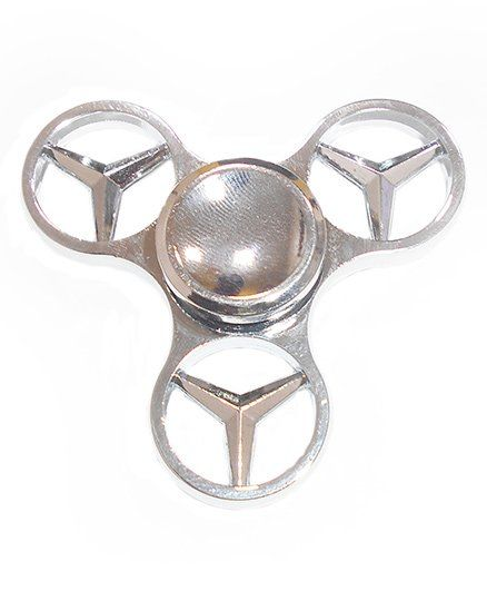 Emob Full Shining Chrome Mercedes Benz Hand Fidget Spinner Toy - Silver