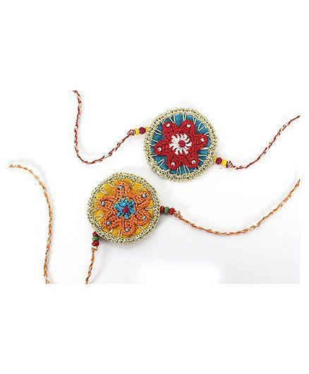 Samoolam Crafts Star Fish Rakhi Set - Red & Orange