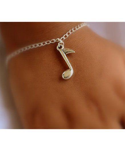 Pretty Ponytails Musical Note Bracelet - Silver