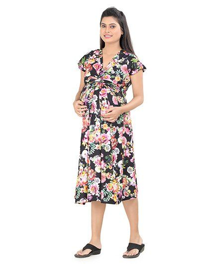 85fa1c80780 Uzazi Short Sleeves Maternity Dress Floral Print - Black