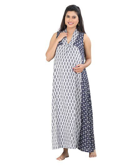 Uzazi Sleeveless Maternity Dress Printed Grey Navy Online in India 83d9879d3