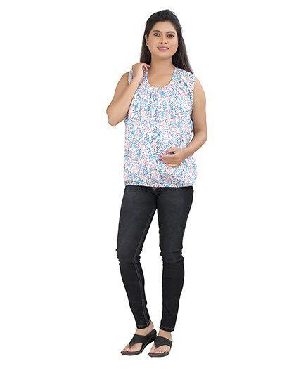 Uzazi Sleeveless Printed Maternity Nursing Top - Blue
