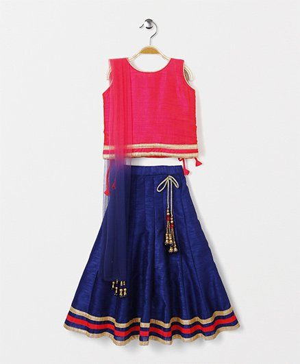 Bluebell Sleeveless Choli Lehenga With Dupatta - Pink & Blue