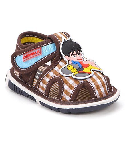 89d586242fa Cute Walk by Babyhug Sandals Cartoon Patch And Checks Print - Coffee Brown