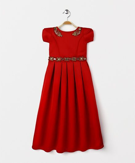 Babyhug Short Sleeves Party Wear Gown Sequined Design - Dark Red