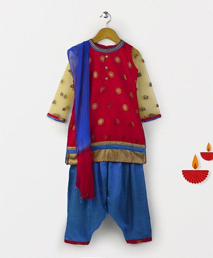 Babyhug Full Sleeves Kurti And Salwaar With Dupatta - Dark Pink Blue