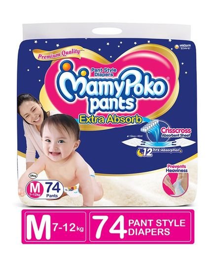 Mamy Poko Extra Absorb Pants M Diapers (74 Pieces)