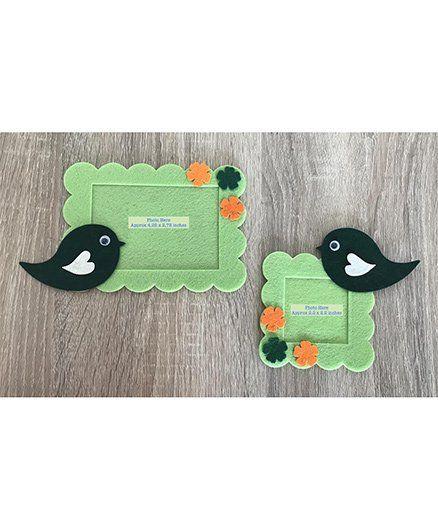 Kalacaree Set Of 2 Bird & Flower Theme Magnetic Photo Frame - Light Green