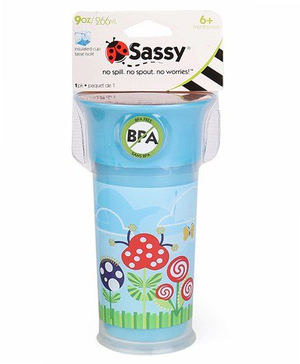 Sassy Insulated Cup Plant Print Blue - 266 ml