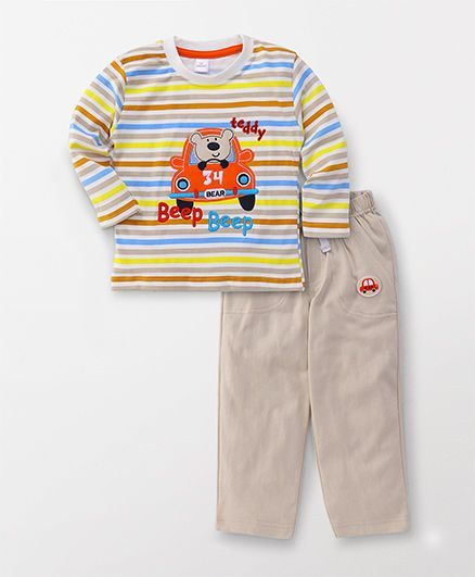 Olio Kids Full Sleeves T-Shirt And Bottom Set Teddy In Car Patch - Beige