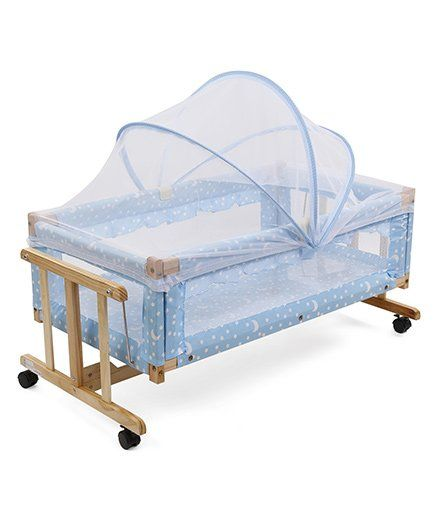 funky baby furniture. star print wooden cradle with mosquito net - blue funky baby furniture i