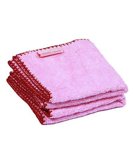 Mumma's Touch Organic Bamboo Baby Wash Towel Set of 2 (SMALL) - Pink with Red border