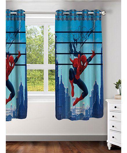 Athom Trendz Marvel Spider Man Window Curtain MAR-412-WC1-E - Red & Blue