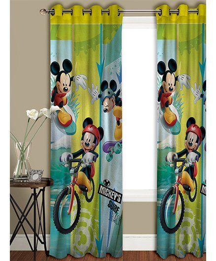 Athom Trendz Disney Mickey Mouse Long Door Curtain MIC-402-LC1 - Blue Yellow