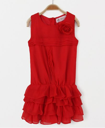 Soul Fairy Rara Georgette Dress With Pintuck - Red