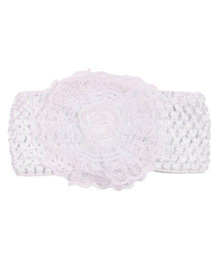 Miss Diva Rose Floral Broad Soft Headband - White