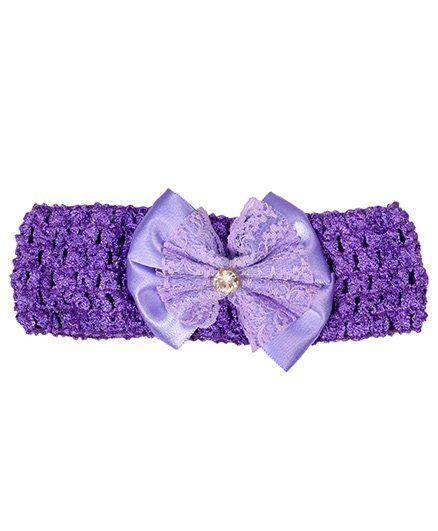 Miss Diva Diamond Studded Bow Soft Headband - Purple
