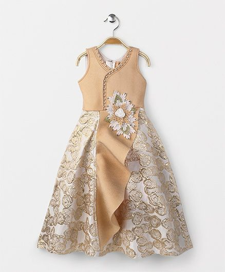 Buy Enfance Party Wear Evening Gown Golden for Girls (6-7 Years ...