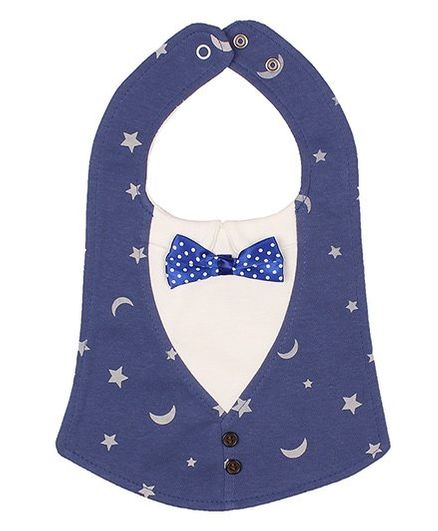 Little Hip Boutique Moon & Star Button Bow Bib - Blue